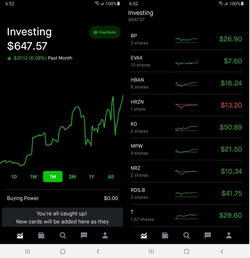 My Robinhood account after the first month of investment.
